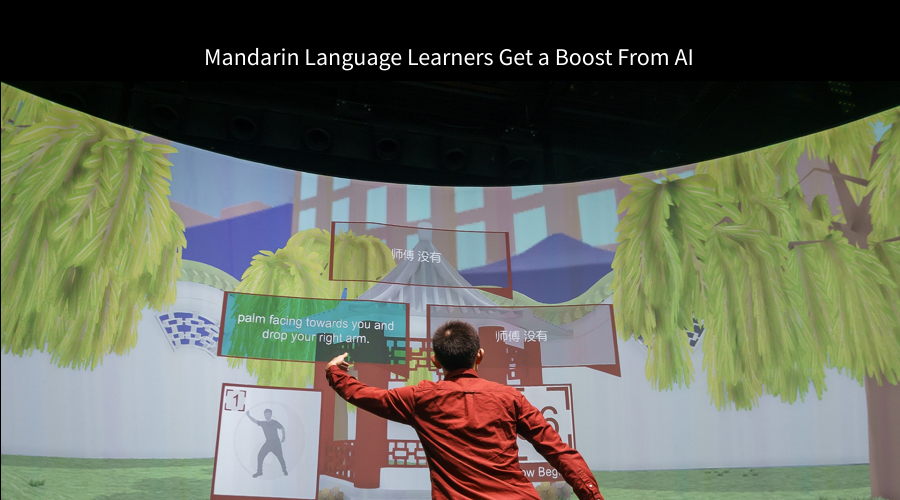 Student learning Mandarin Chinese through an immersive artificial intelligence environment