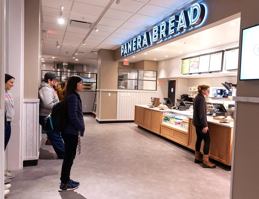 Students at order counter at Panera Bread located in campus Union
