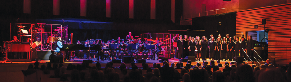 Students in the Rensselaer Chorus and Orchestra performed on stage with Josh Groban at EMPAC.