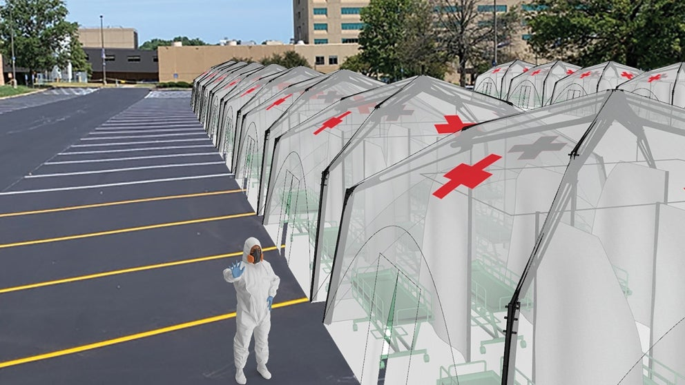 Rendering of overflow health care structures