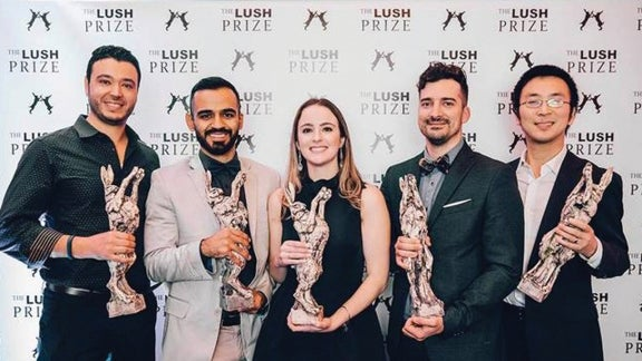 Carolina Motter Catarino poses with other winners of the Lush Prize.
