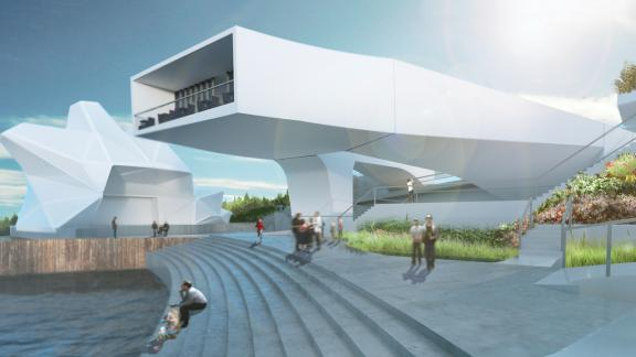 Futuristic white building with stairs at waterfront
