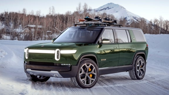 Rivian SUV in winter