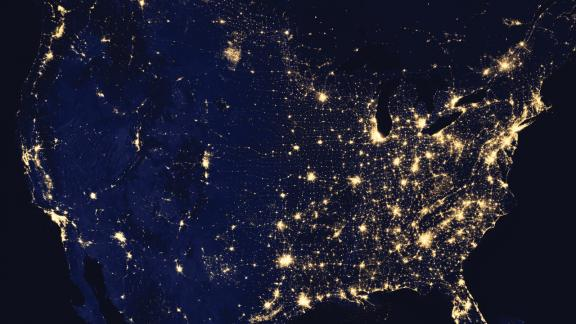 United States at night with lights