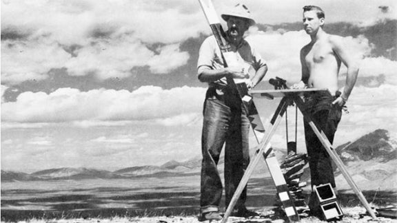 CE Professor and Department Chair Lewis Combs '16 on a 1955 summer survey