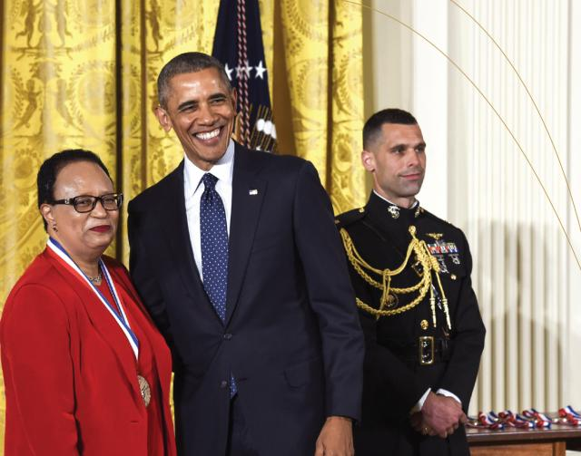 Dr. Shirley Ann Jackson with President Obama