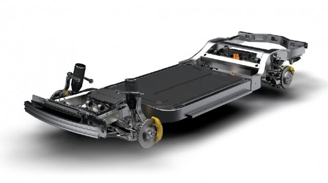 Rivian uses a skateboard  platform — a flat frame that contains the batteries, suspension, motors, and braking.